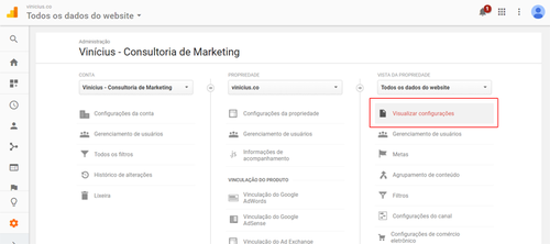 Visualizar configurações do Google Analytics
